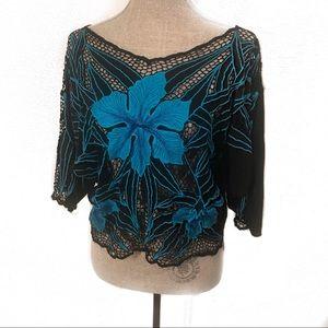 Beautiful vintage net boho blouse top